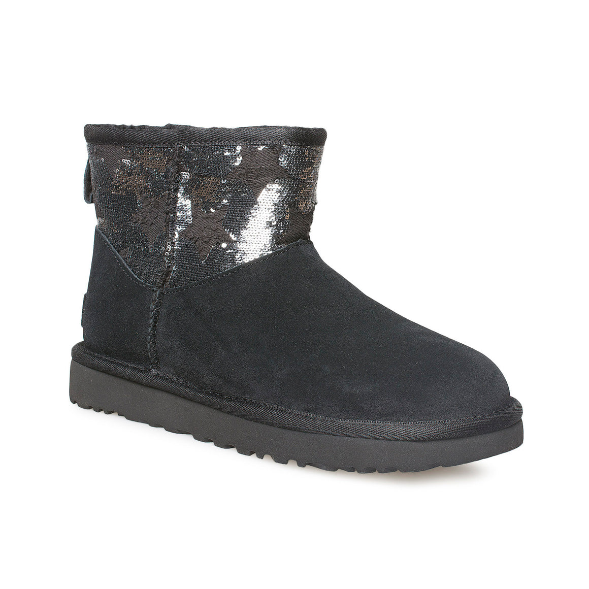 UGG Classic Mini Sequin Stars Black Boots - Women's