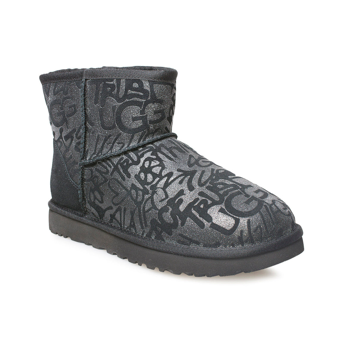 UGG Classic Mini Sparkle Graffiti Black Boots - Women's