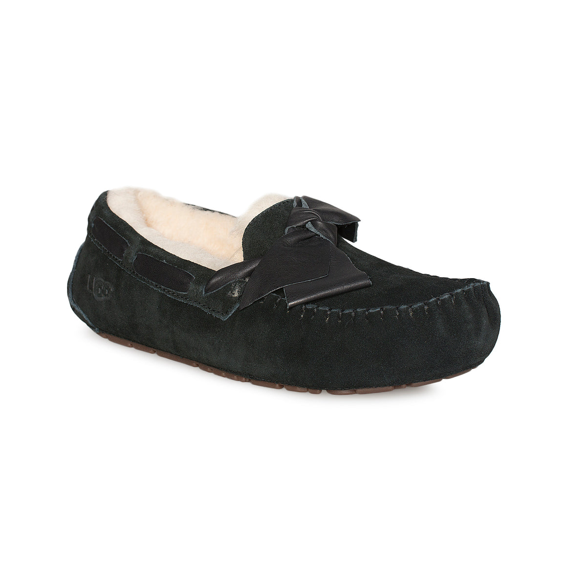 UGG Dakota Leather Bow Black Slippers - Women's