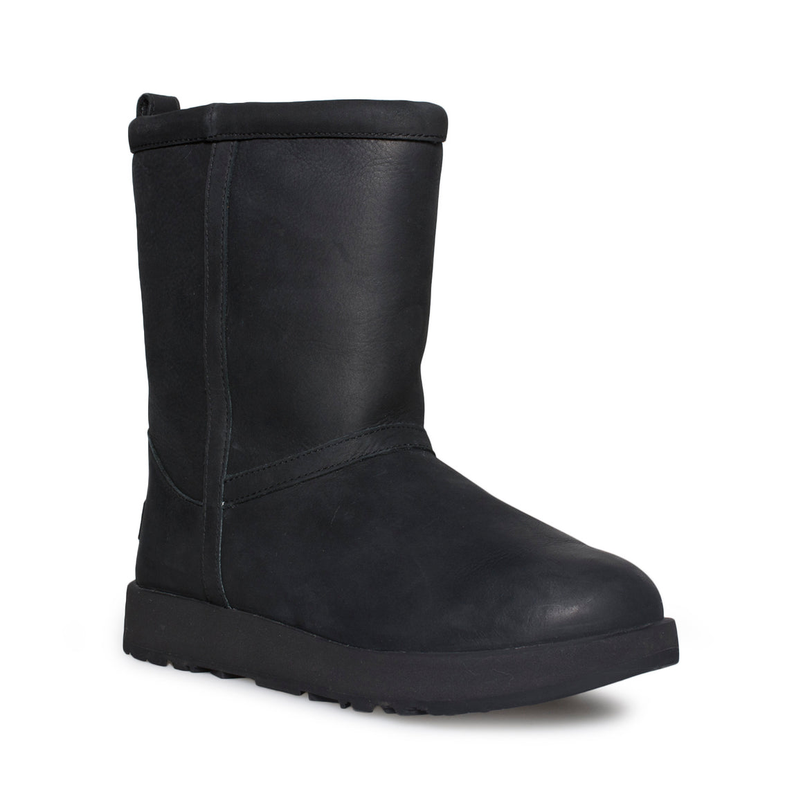 UGG Classic Short Leather Waterproof Black Boots - Women's