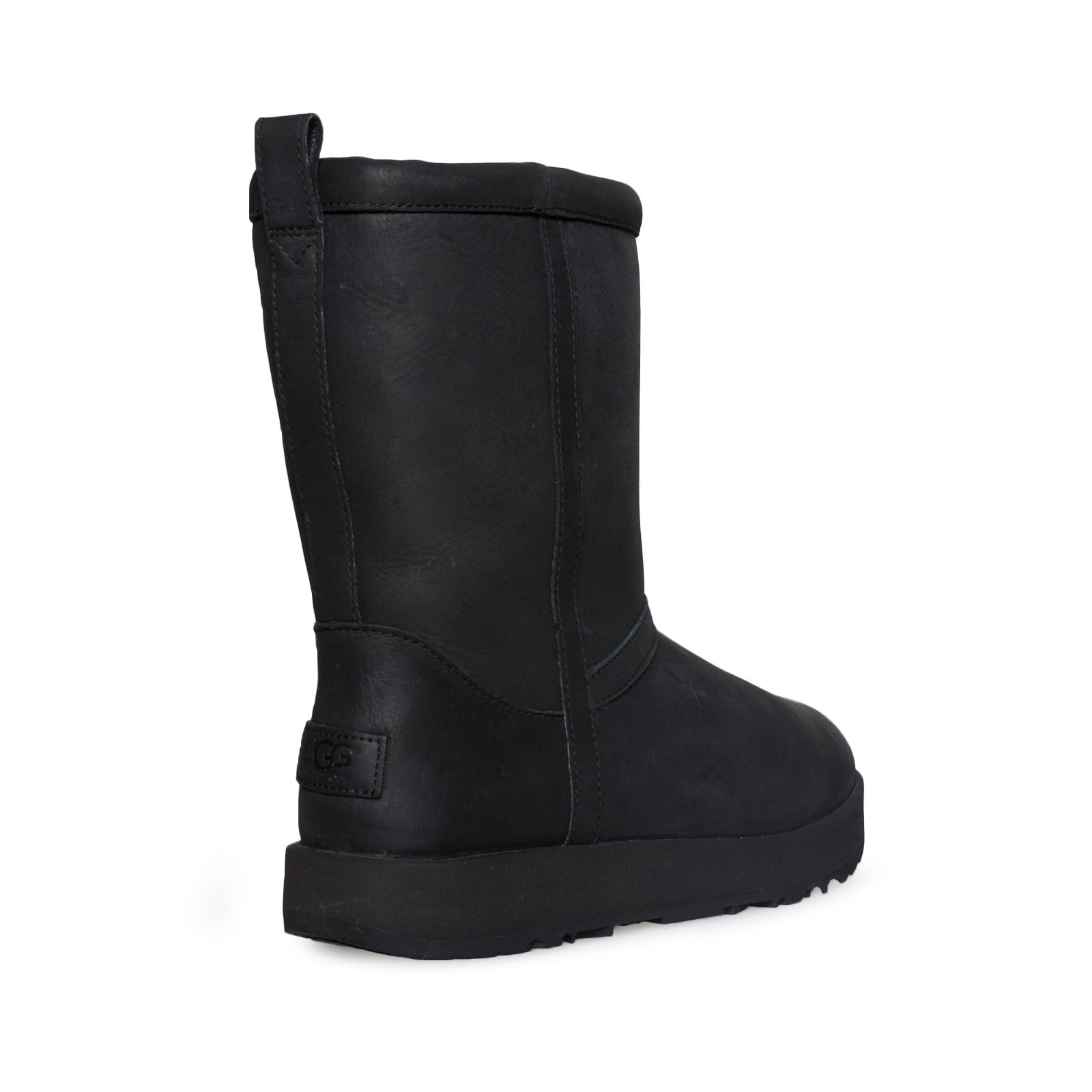 84dac002092 UGG Classic Short Leather Waterproof Black Boots - Women's