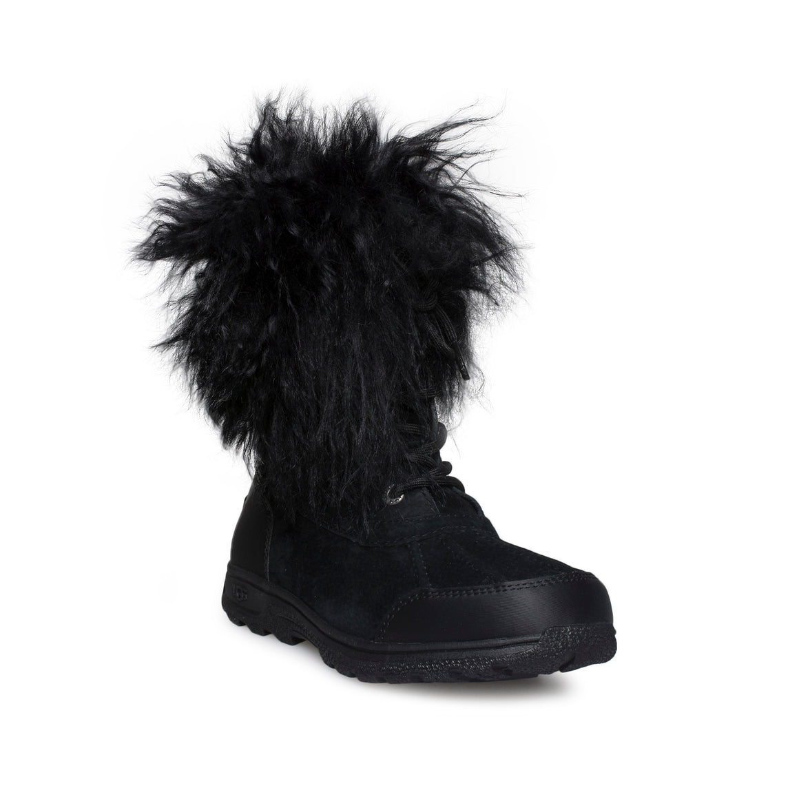UGG Butte II Fluff Black Boots - Youth