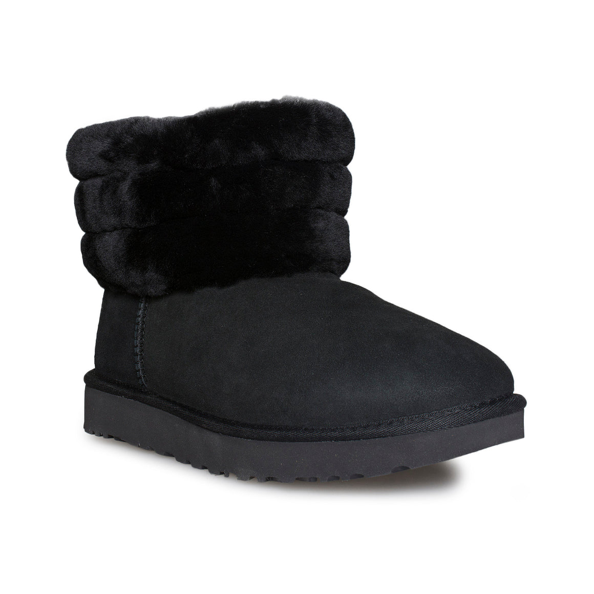 UGG Fluff Mini Quilted Black Boots - Women's