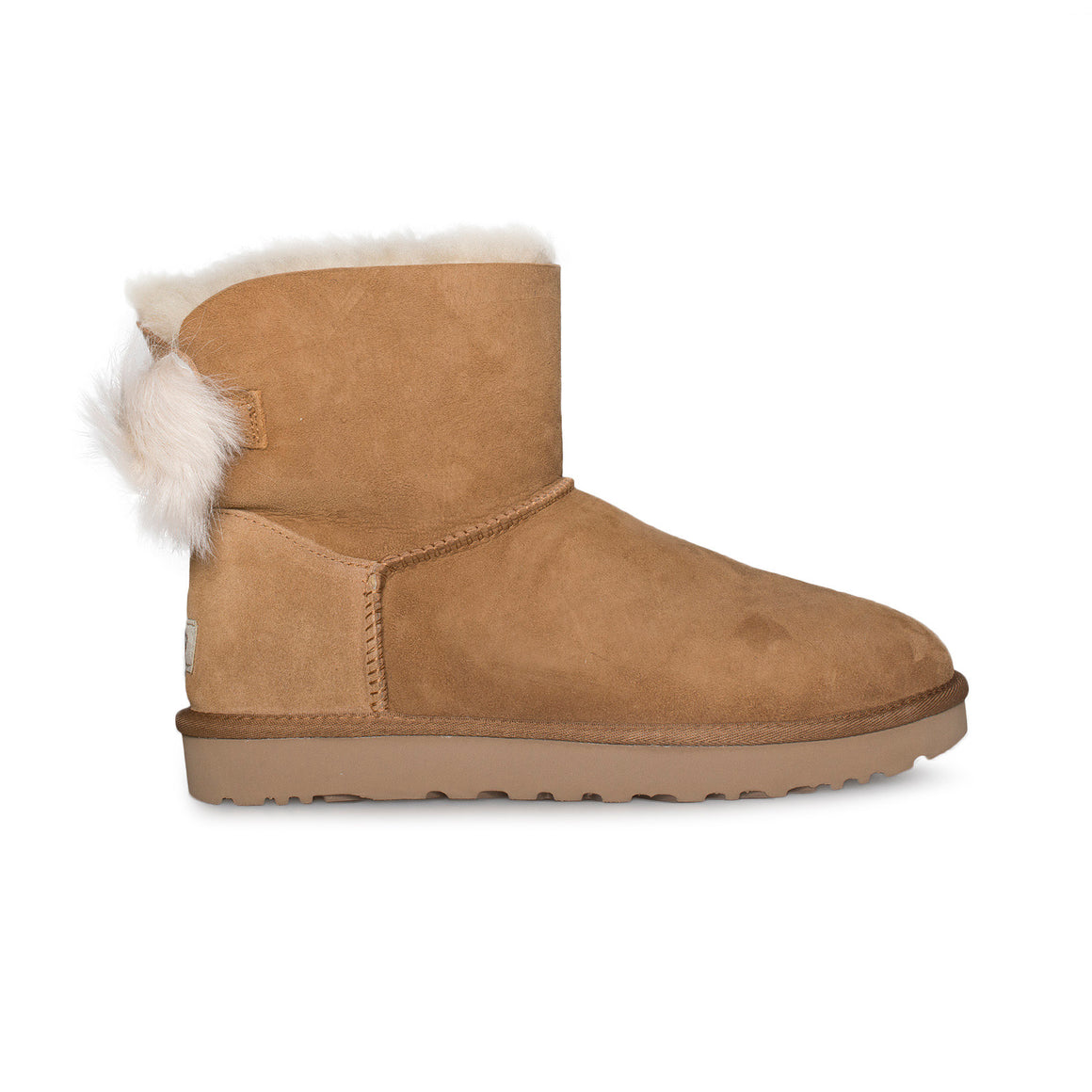 UGG Fluff Bow Mini Chestnut Boots - Women's
