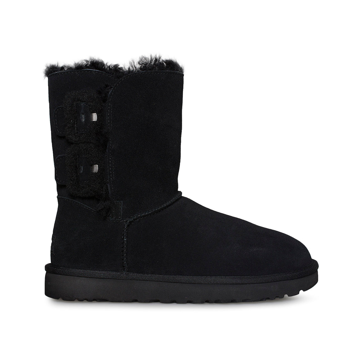 UGG Bailey Fluff Buckle Black Boots - Women's