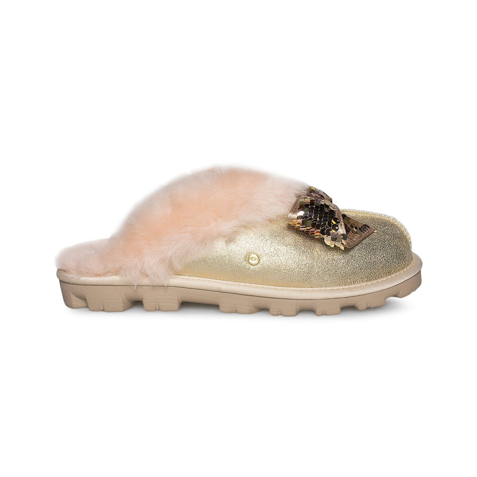 UGG Coquette Sequin Bow Gold Slippers Women's