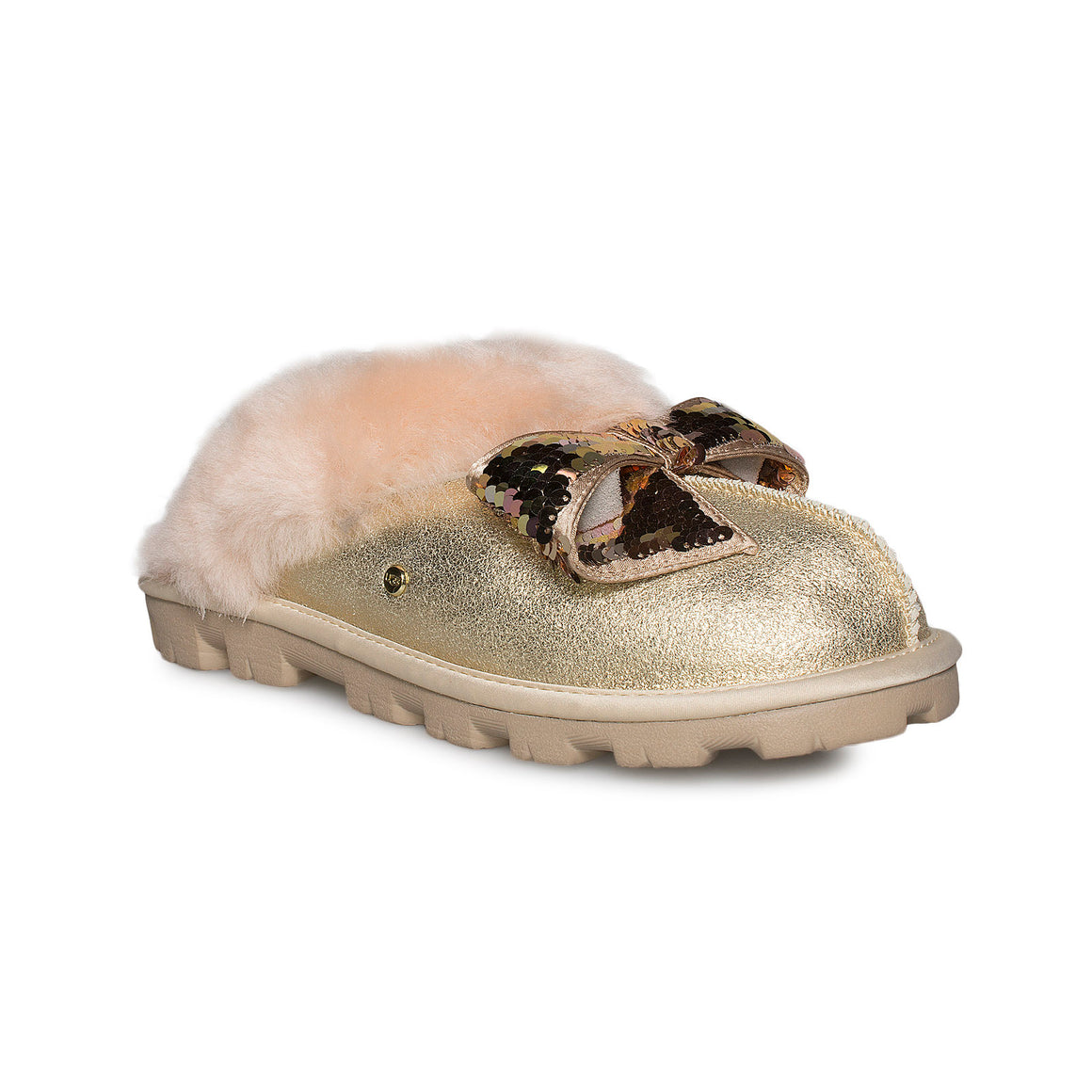 UGG Coquette Sequin Bow Gold Slippers - Women's