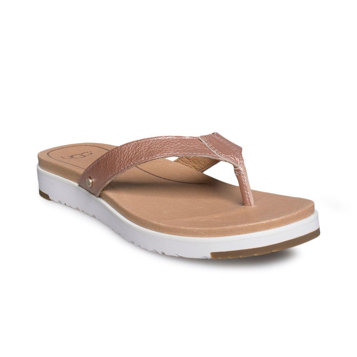 UGG Lorrie Metallic Rose Gold Flip Flops - Women's