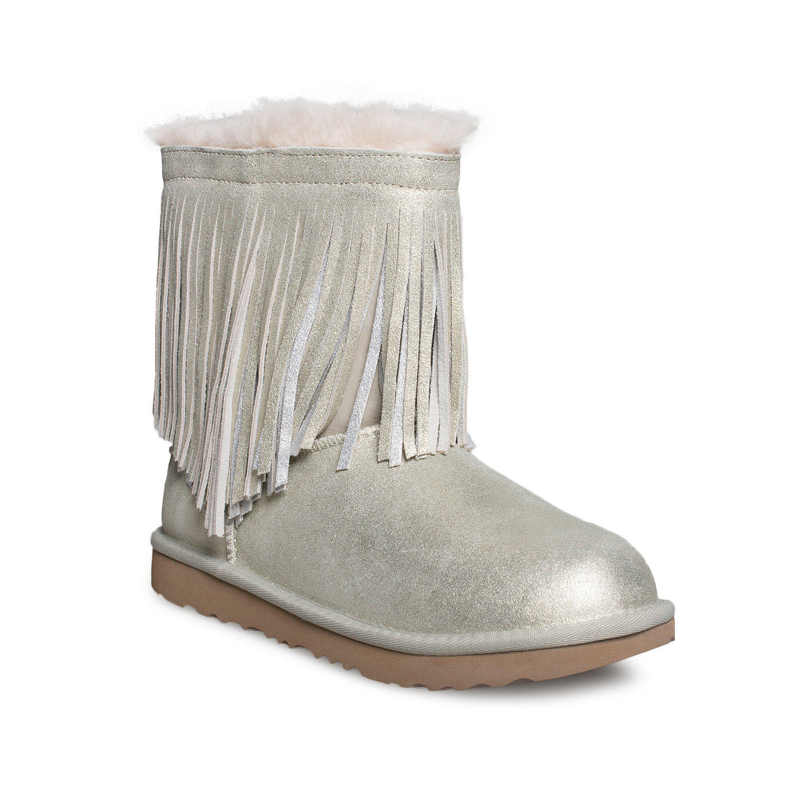 UGG Classic Short II Fringe Gold Boots - Youth's