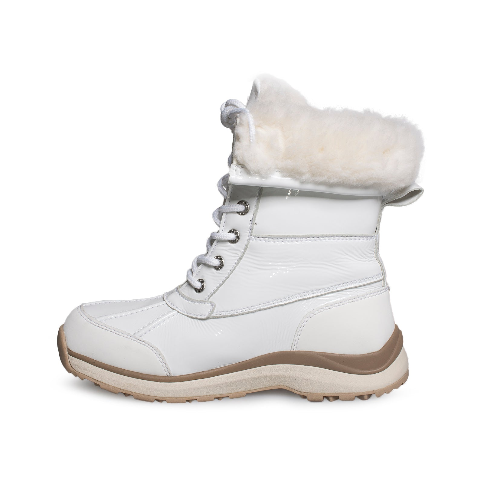 UGG Adirondack III Patent Leather White Boots - Women's