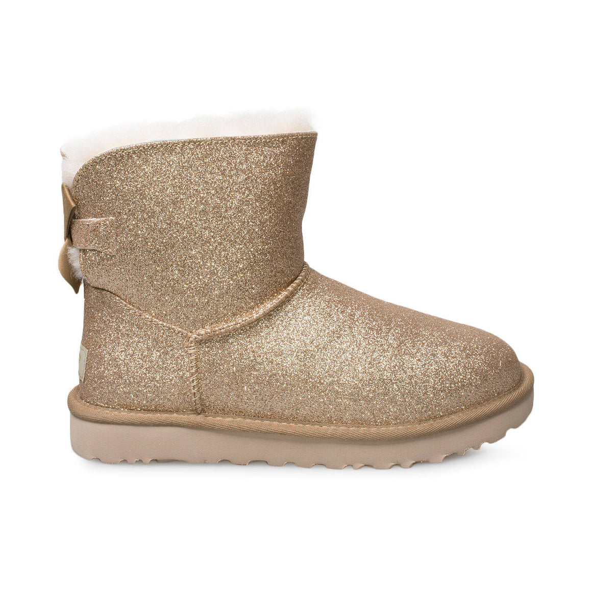 UGG Mini Bailey Bow Sparkle Gold Boots - Women's