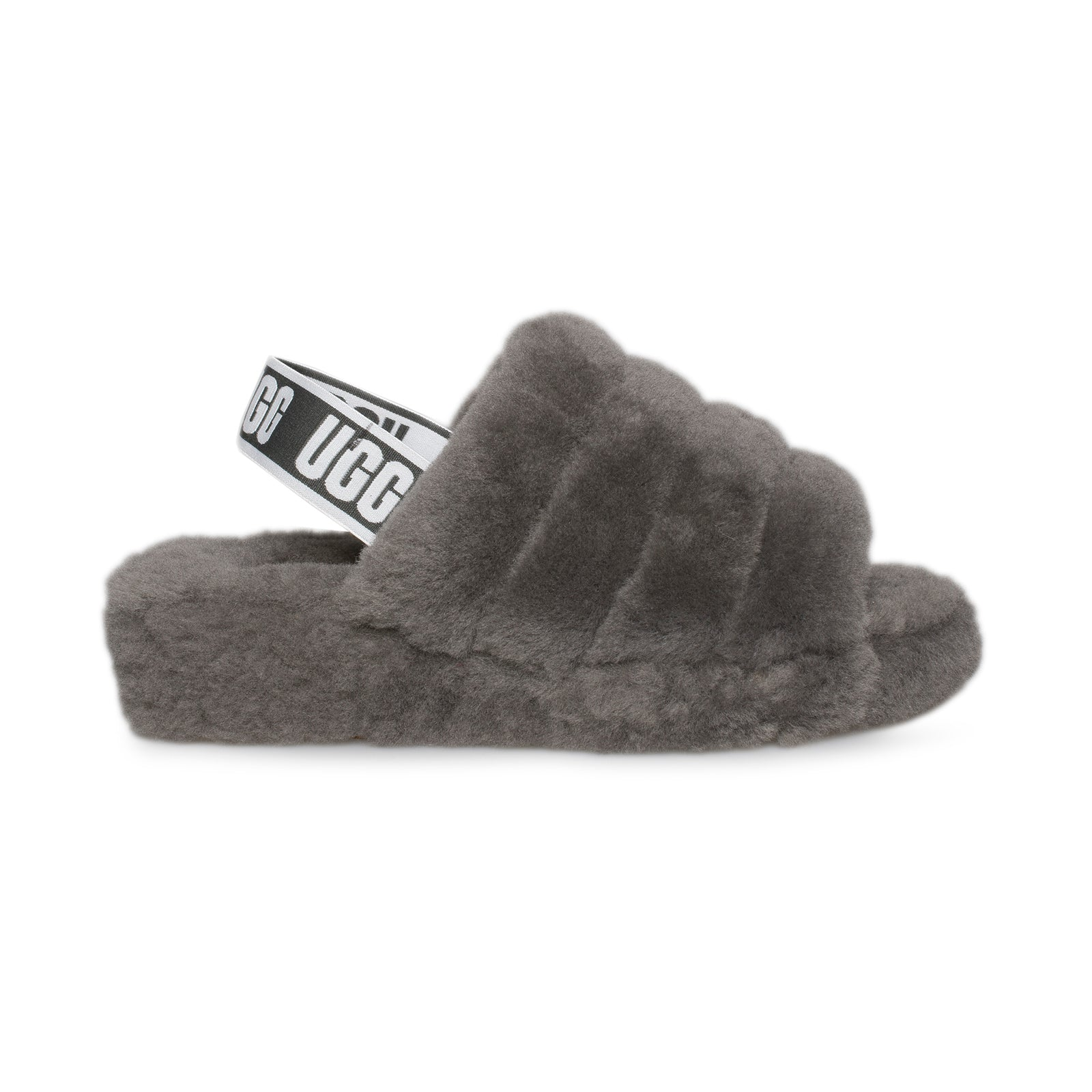 076790099 UGG Fluff Yeah Slide Charcoal Slippers - Women's - MyCozyBoots