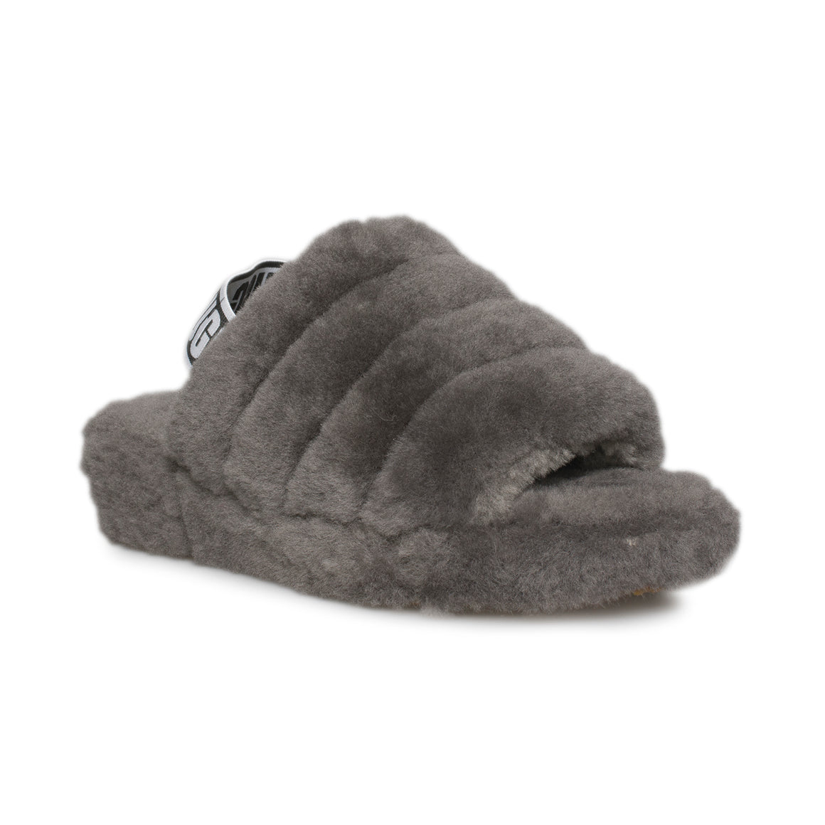 UGG Fluff Yeah Slide Charcoal Slippers - Women's