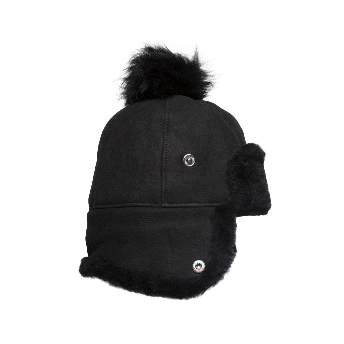 UGG Sheepskin Pom Black Hat - Woman's