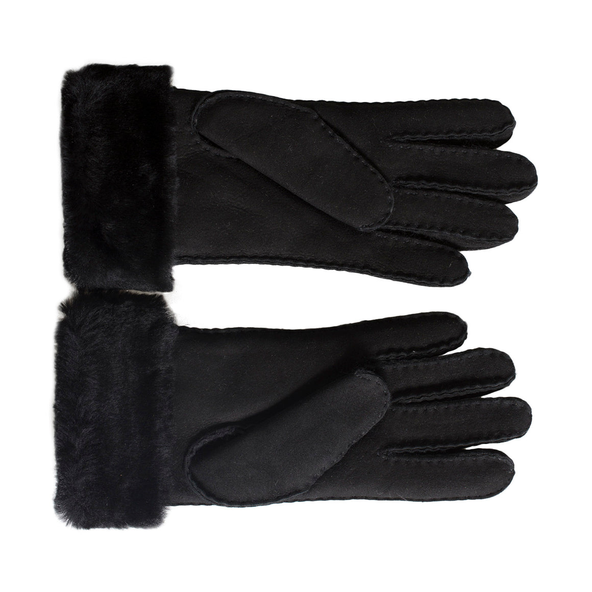 UGG Sheepskin Classic Turn Cuff Black Gloves - Women's