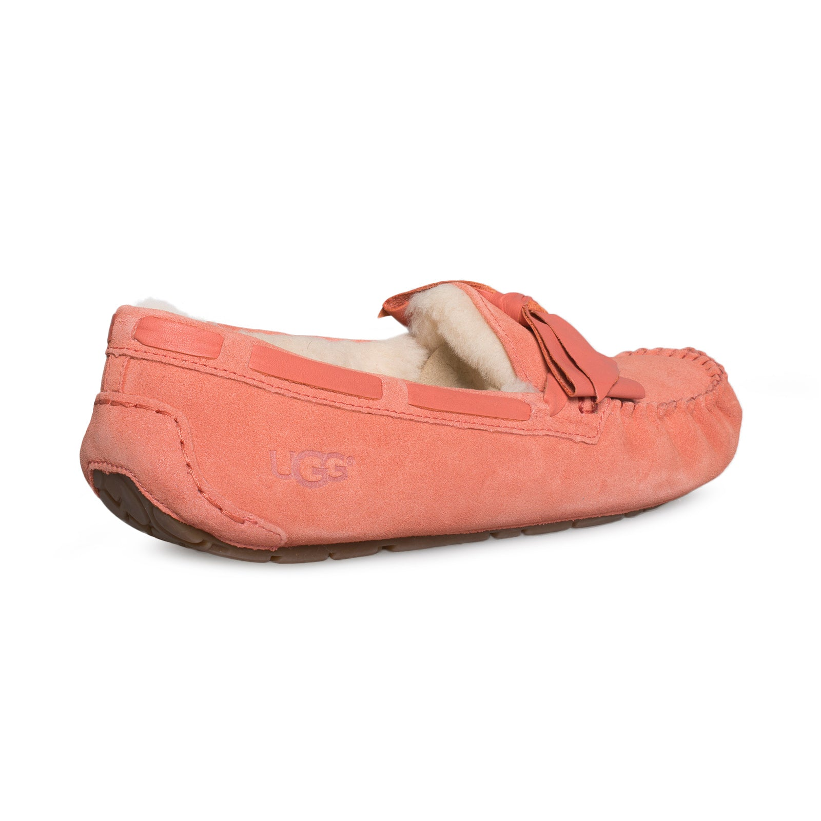 6f02fbdf96c UGG Dakota Leather Bow Vibrant Coral Slippers - Women's