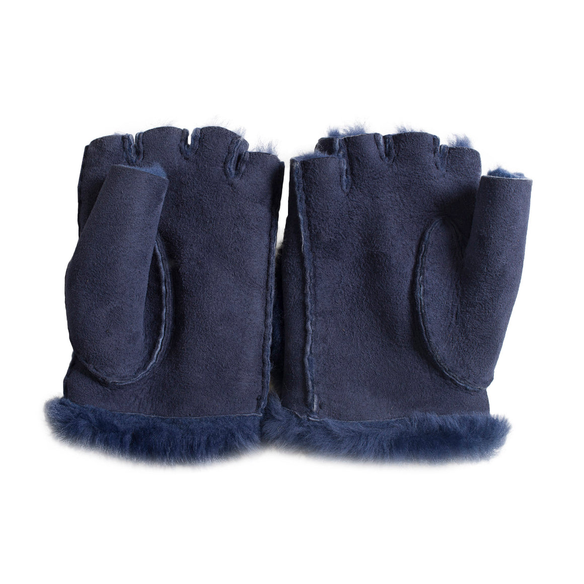 UGG Bailey Button Fingerless Peacot Blue Gloves - Women's