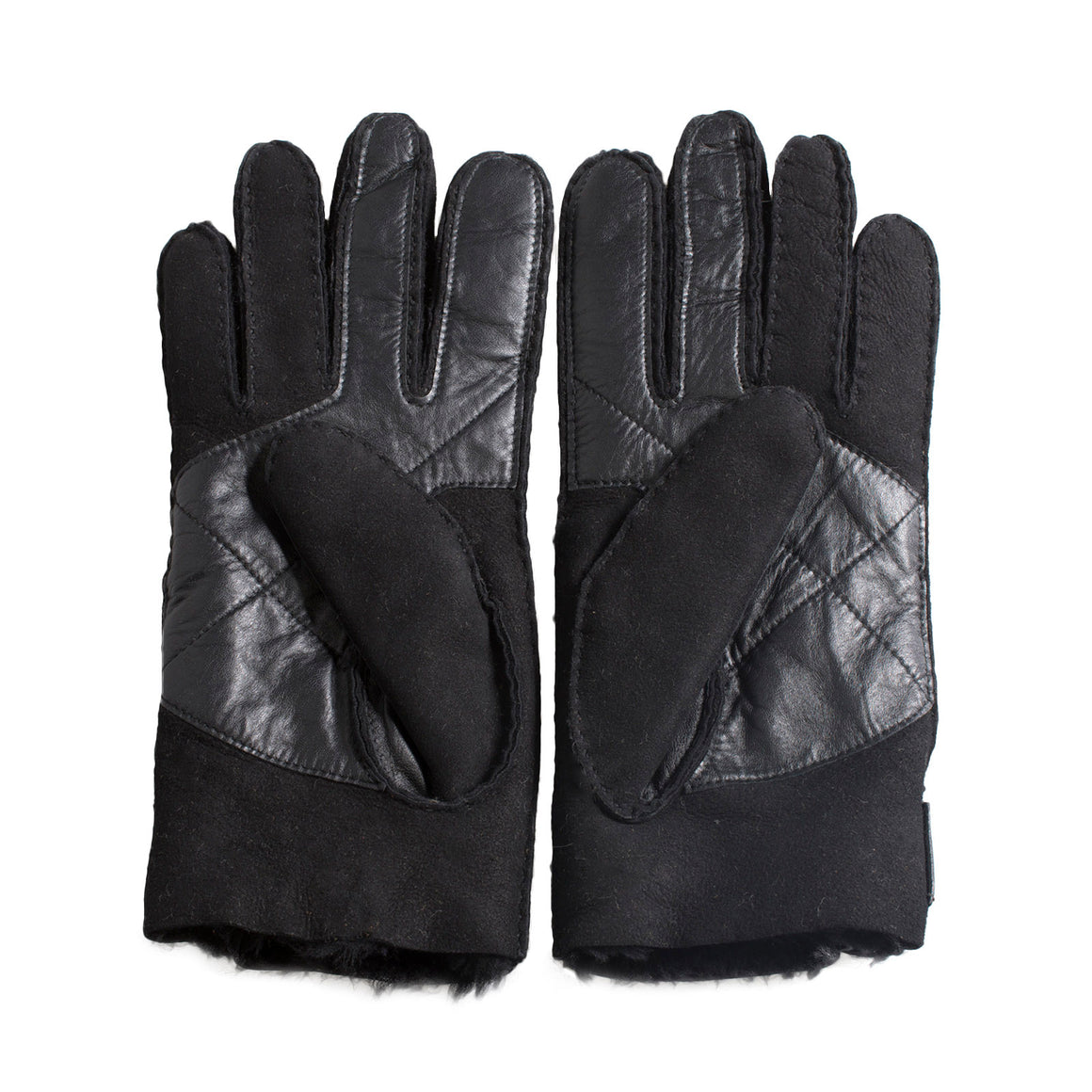 UGG Sheepskin Snap Tab Black Gloves - Men's