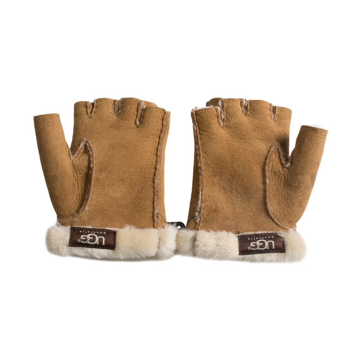 UGG Fingerless Shearling Chestnut Gloves - Women's