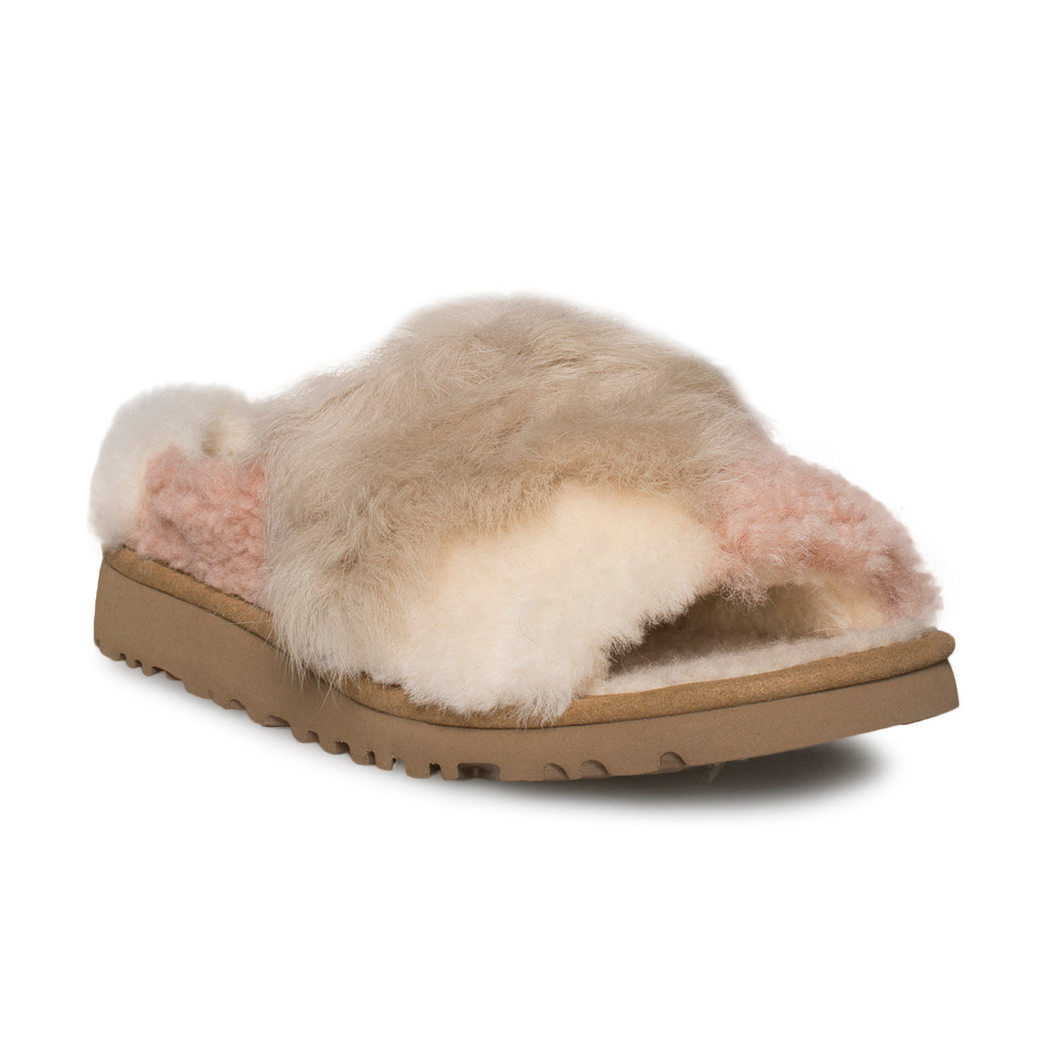 UGG Patchwork Fluff Slide Chestnut Slippers - Women's