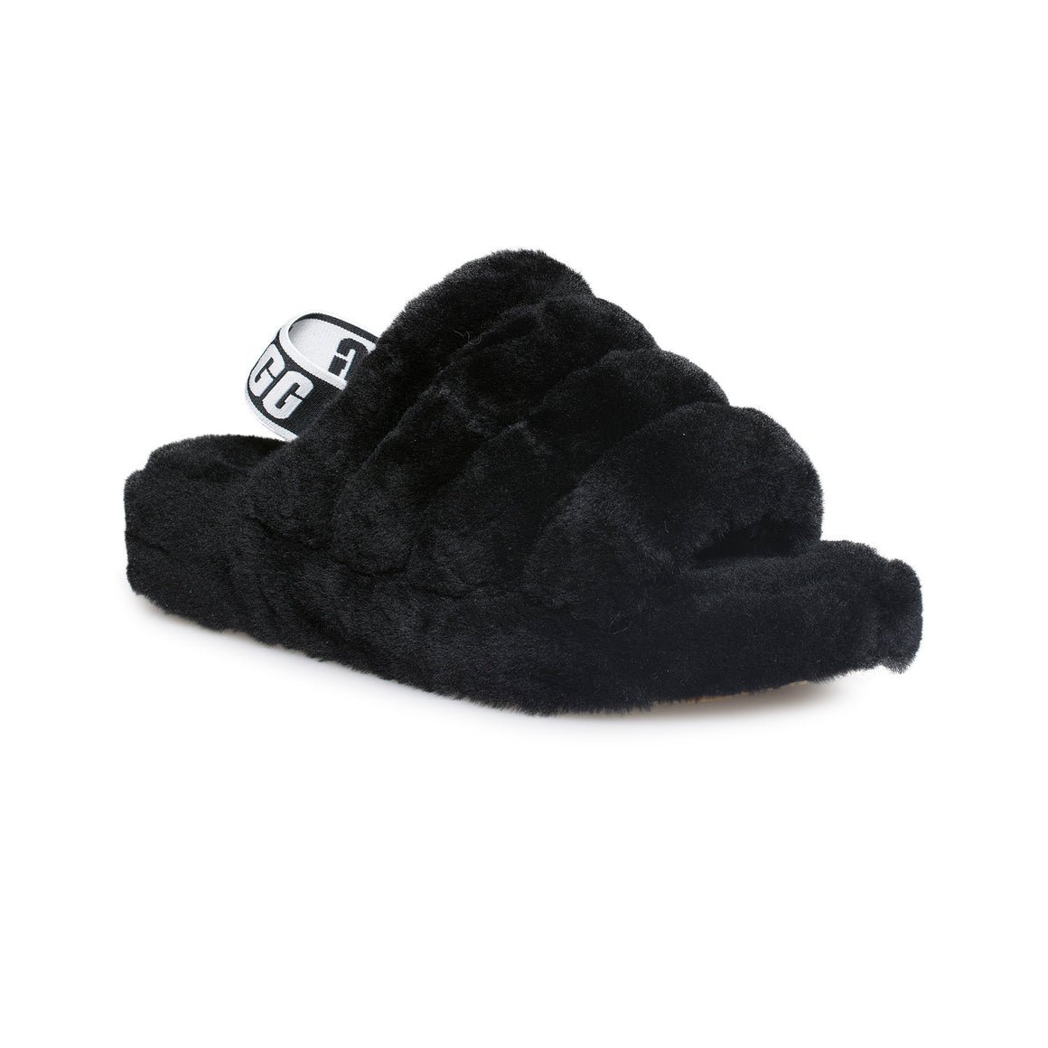UGG Fluff Yeah Slide Black Slippers - Women's