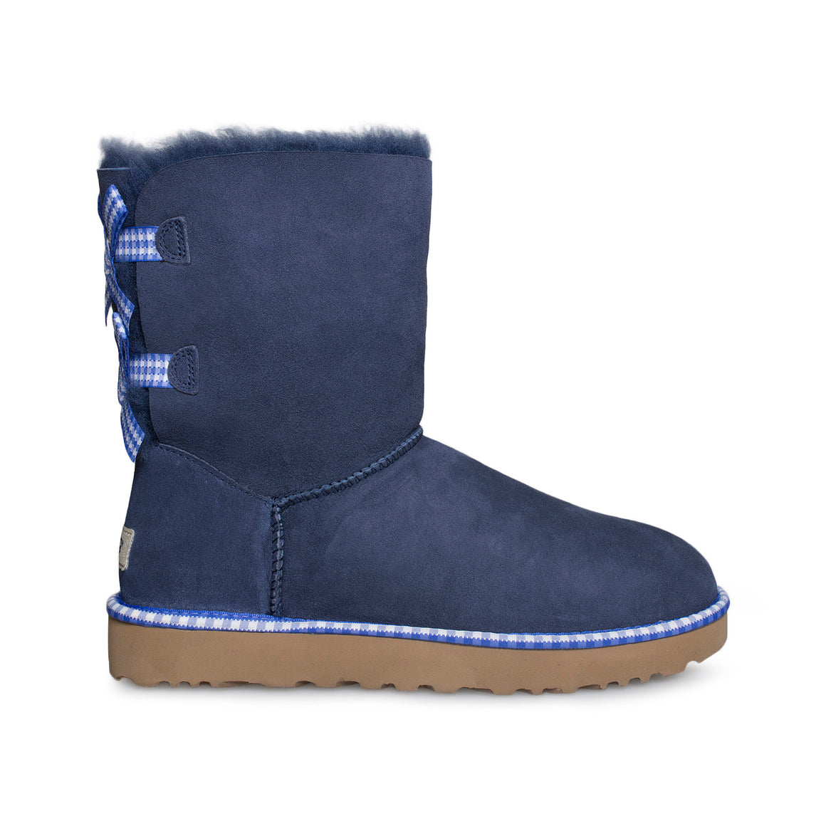 UGG Bailey Bow Gingham Navy Boots - Women's
