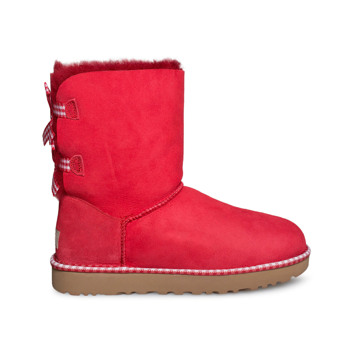 UGG Bailey Bow Gingham Ribbon Red Boots - Women's