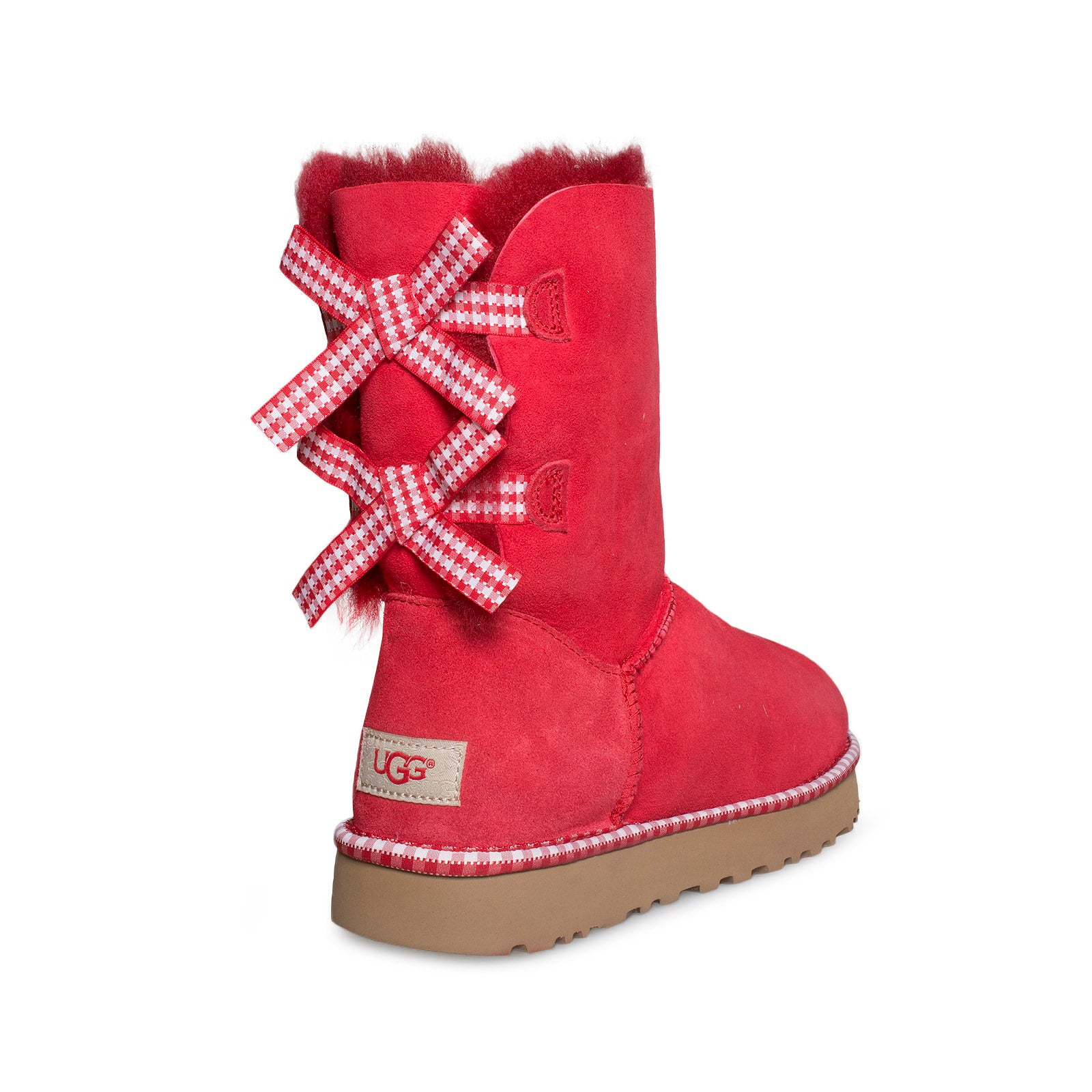 ugg bailey bow gingham ribbon red boots women s mycozyboots rh mcozyboots com