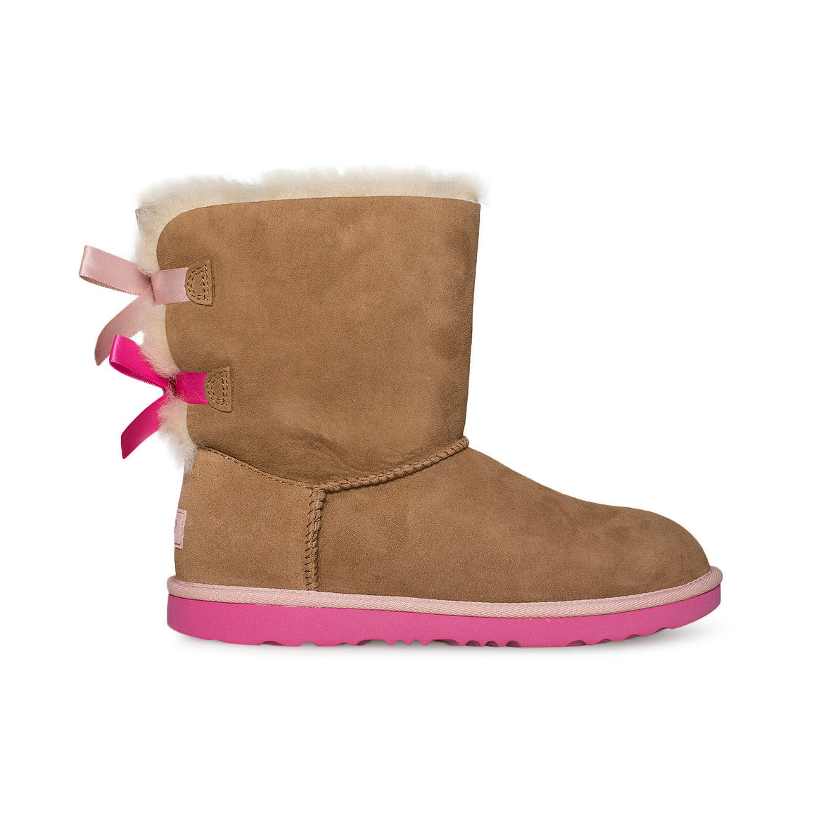 UGG Bailey Bow II Chestnut / Pink Azalea Boots - Youth