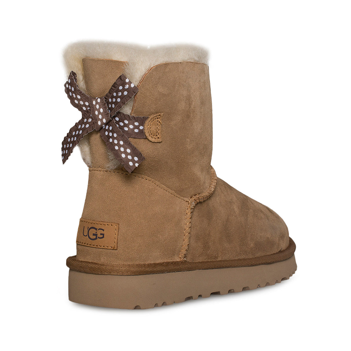UGG Mini Bailey Bow II Ruffled Chestnut Boots - Women's