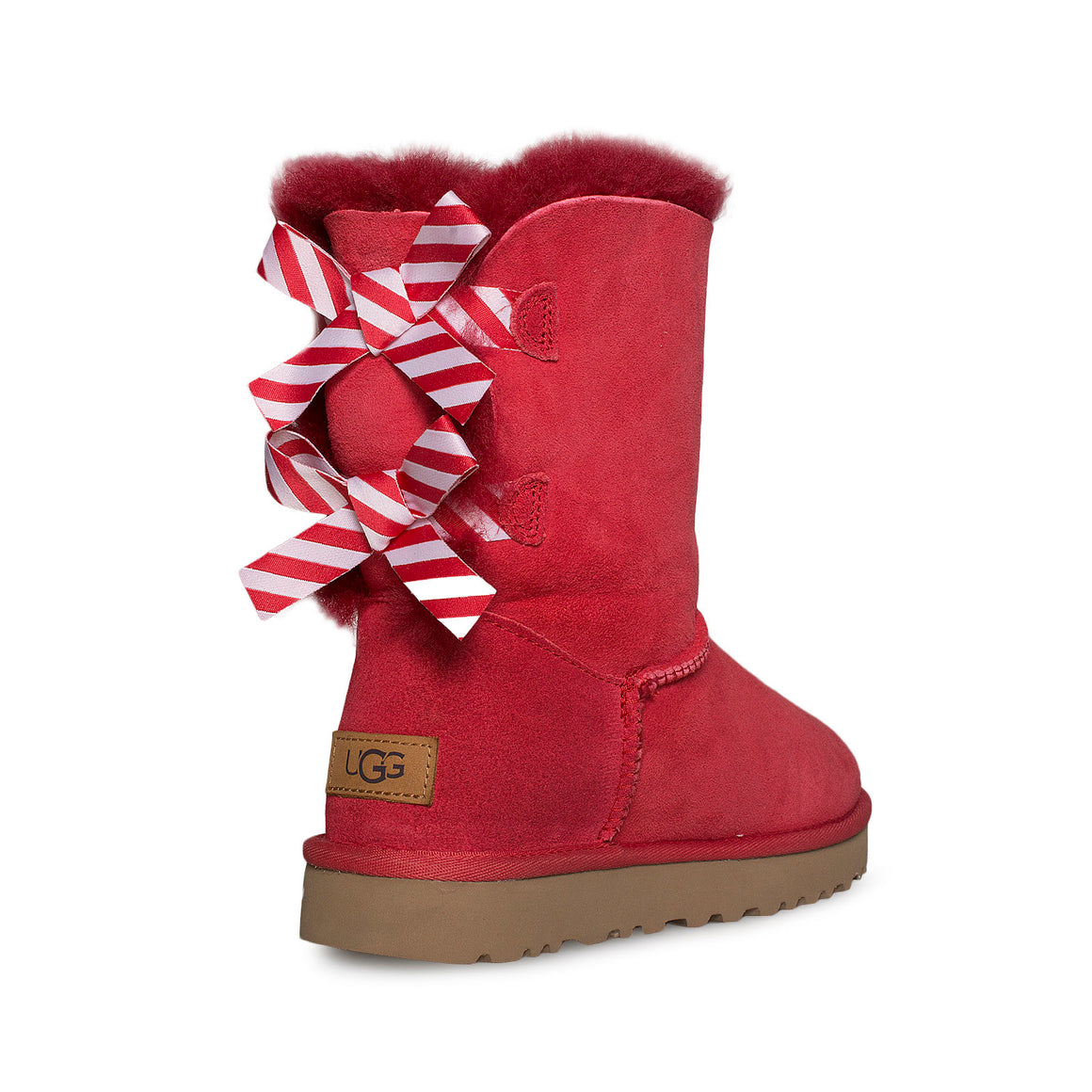 UGG Bailey Bow II Diagonal Stripes Poppy Red Boots - Women's