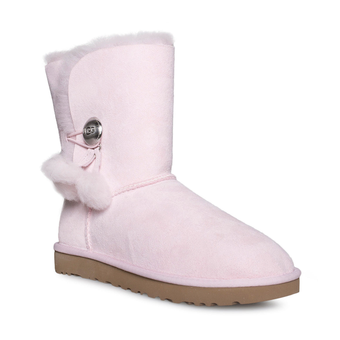 UGG Bailey Button Puff Seashell Pink Boots - Women's