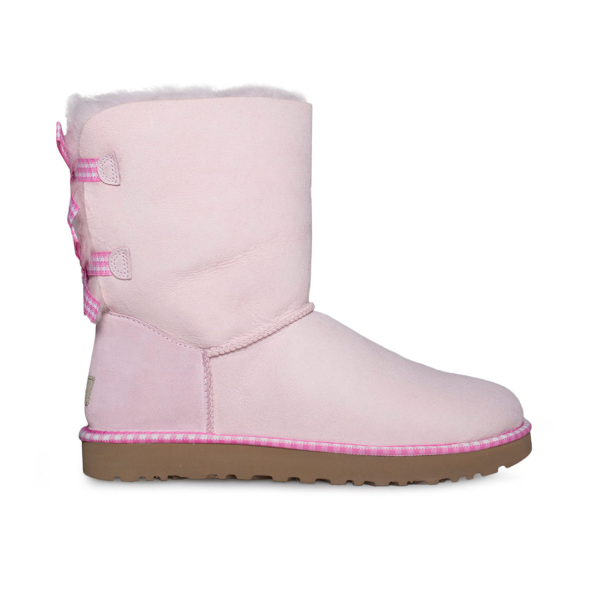 UGG Bailey Bow Gingham Seashell Pink Boots - Women's