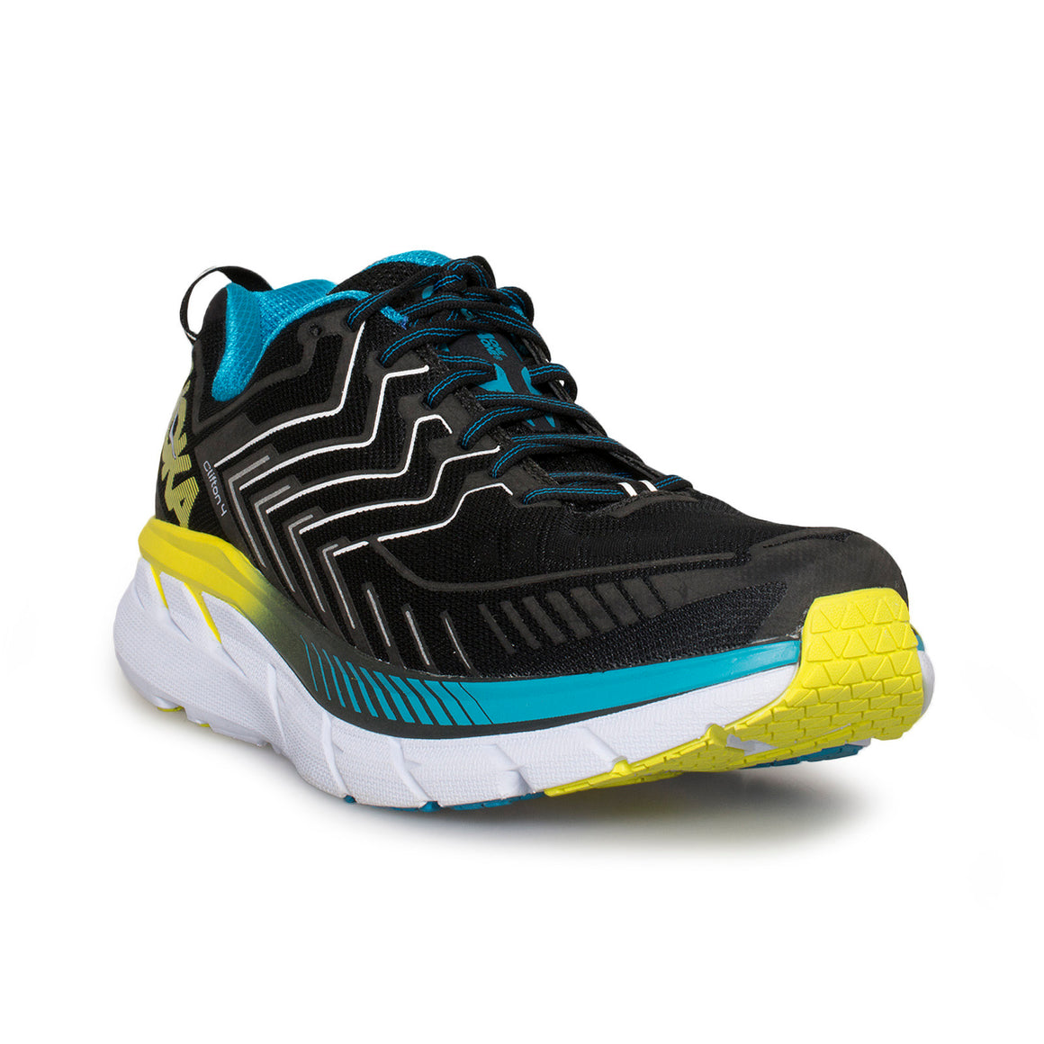 Hoka One One Clifton 4 Black / Cyan / Citrus Running Shoes - Men's