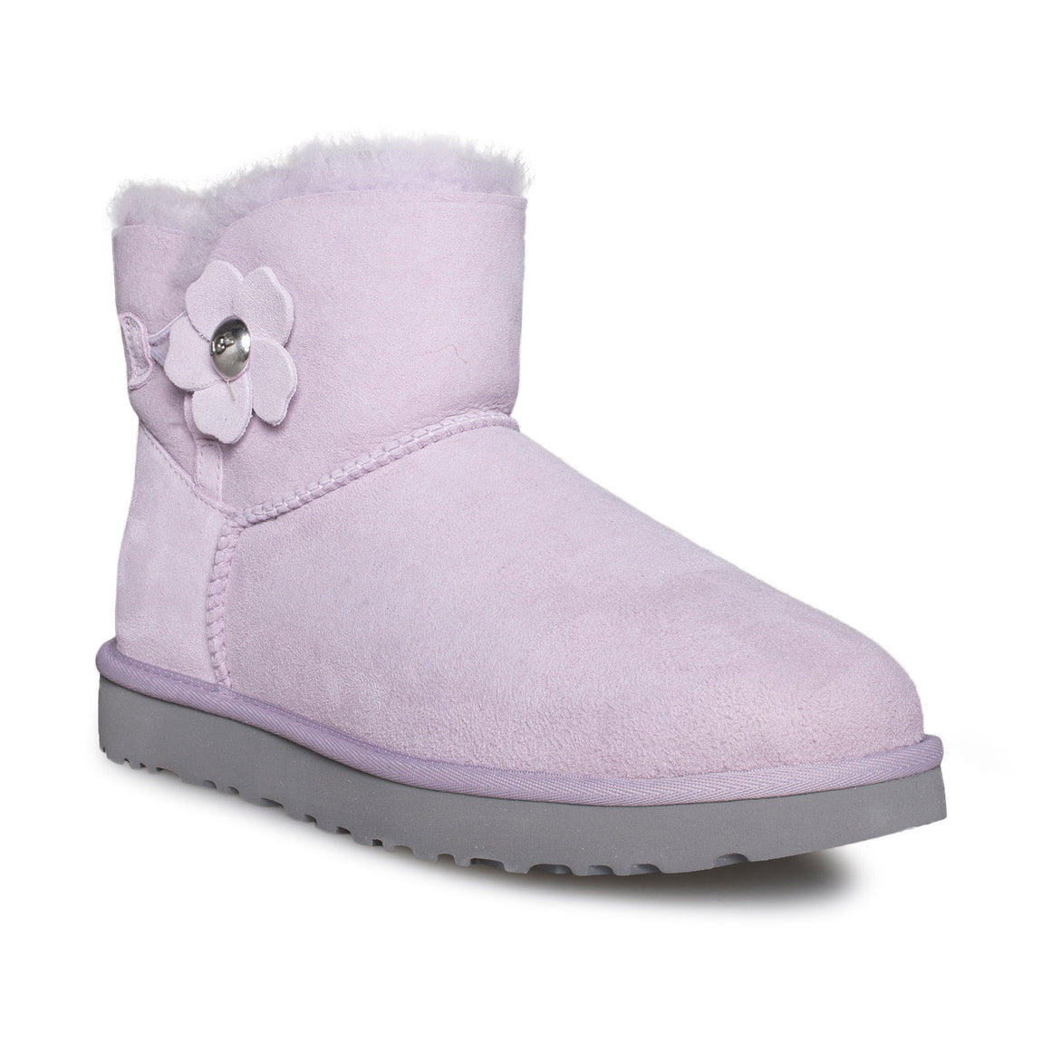 UGG Mini Bailey Button Poppy Lavender Fog Boots - Women's