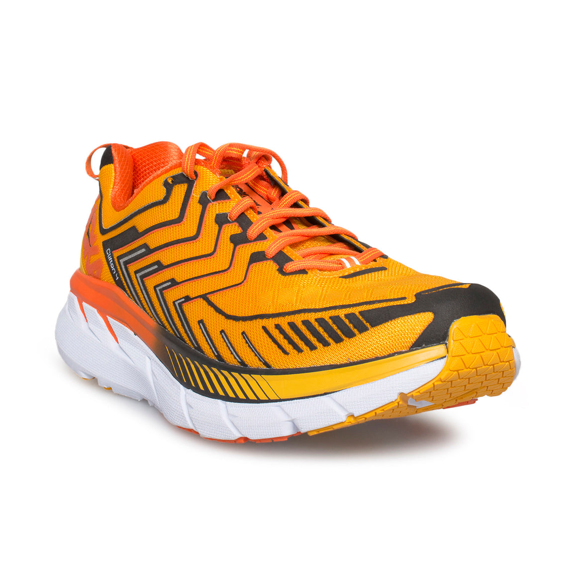 Hoka One One Clifton 4 Saffron / Red Orange Running Shoes - Men's