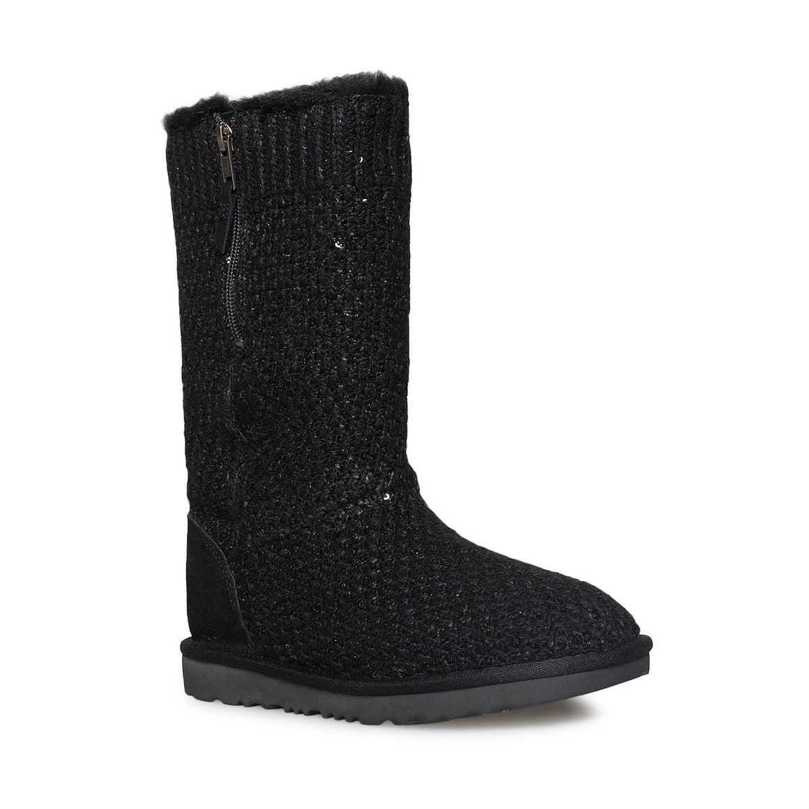 UGG Sequin Knit Black Boots - Youth