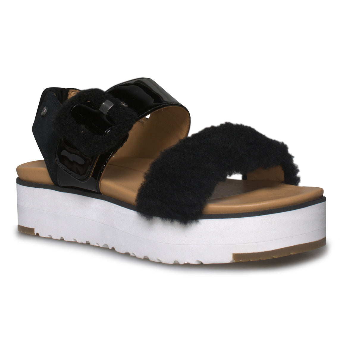 UGG Fluff Chella Black Sandals - Women's