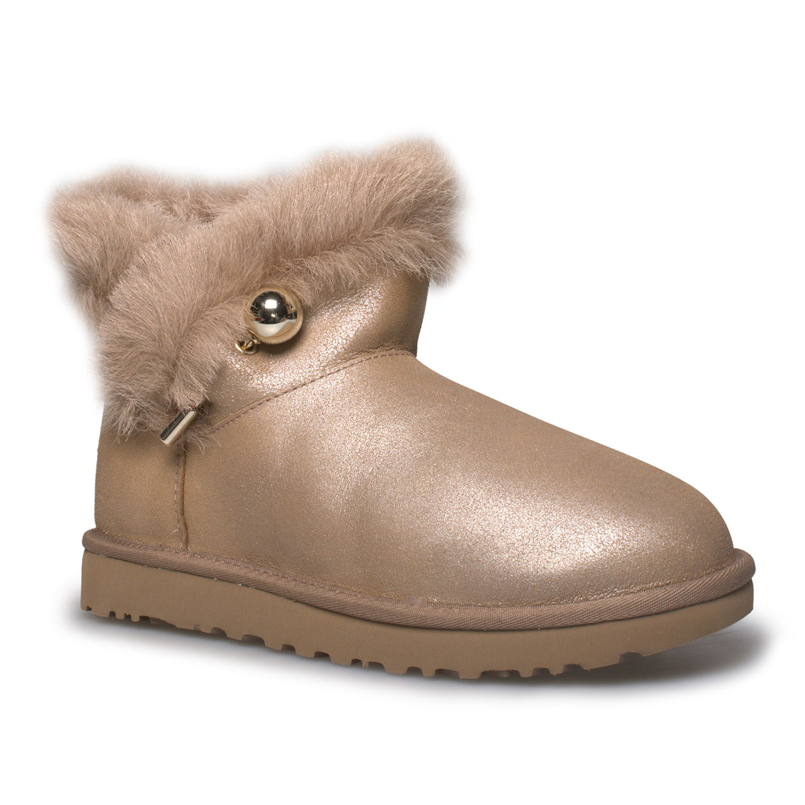 UGG Classic Fluff Pin Mini Antique Pearl Boots - Women's