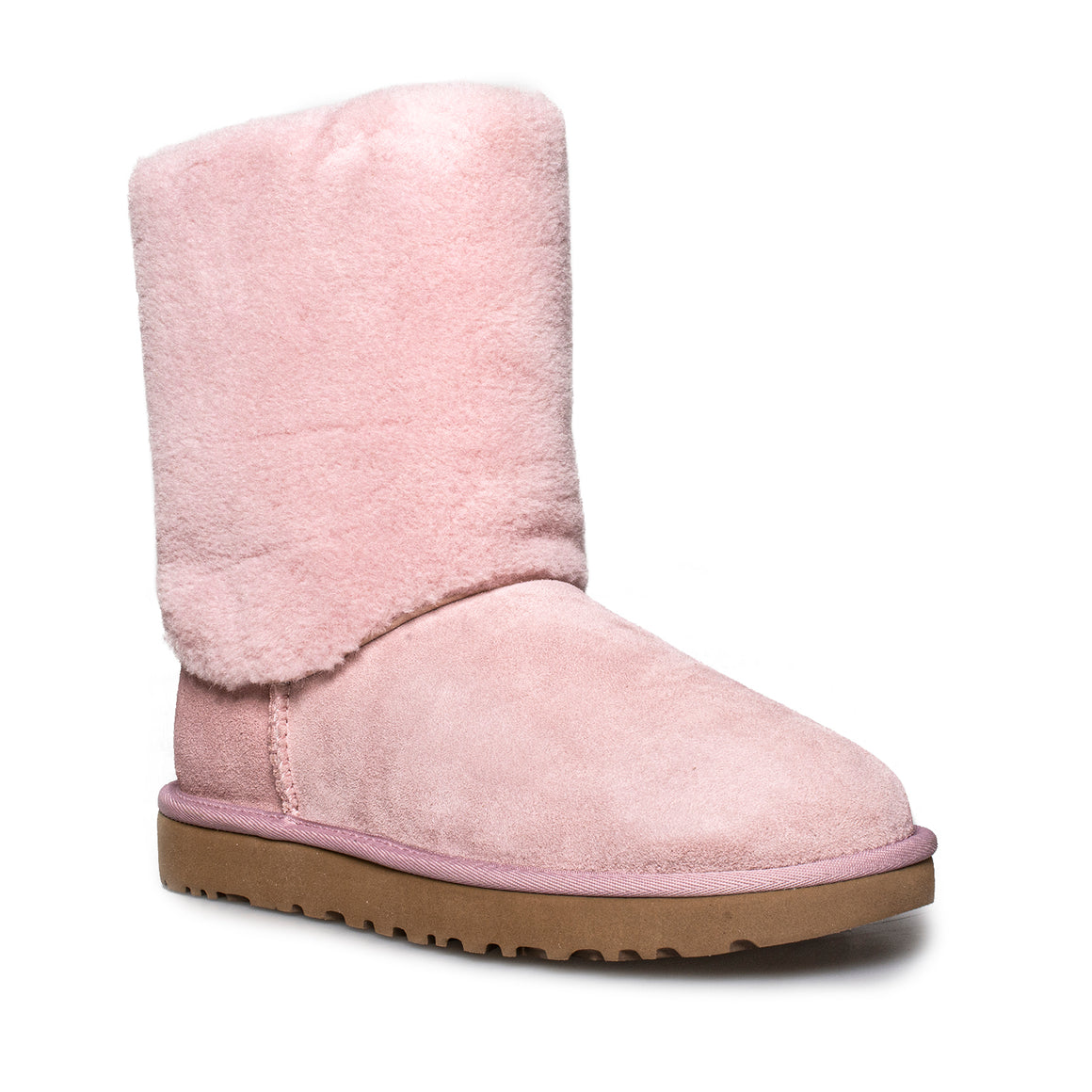 UGG Classic Short II Sherpa Cuff Pink Crystal Boots - Women's