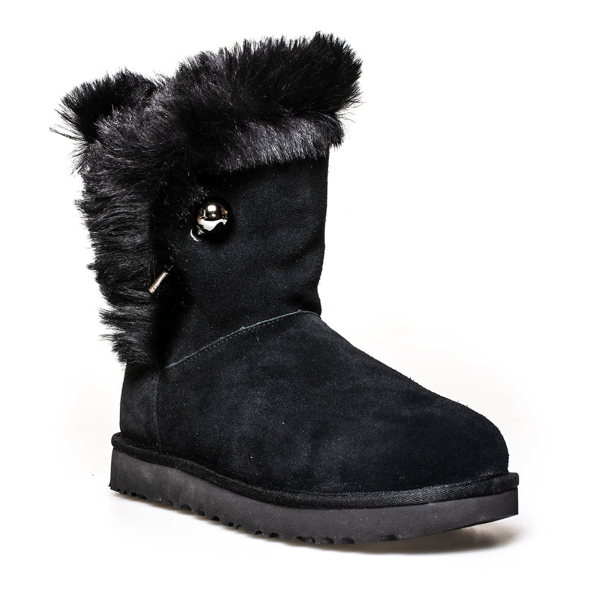 UGG Classic Fluff Pin Black Boots - Women's