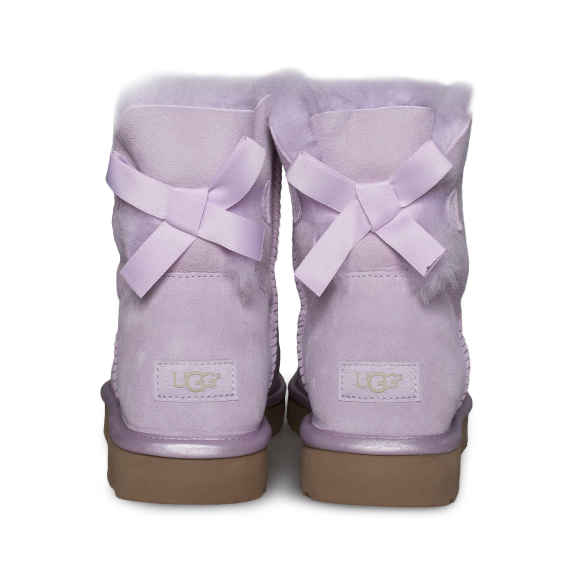 UGG Mini Bailey Bow II Metallic Lavender Fog Boots - Women's