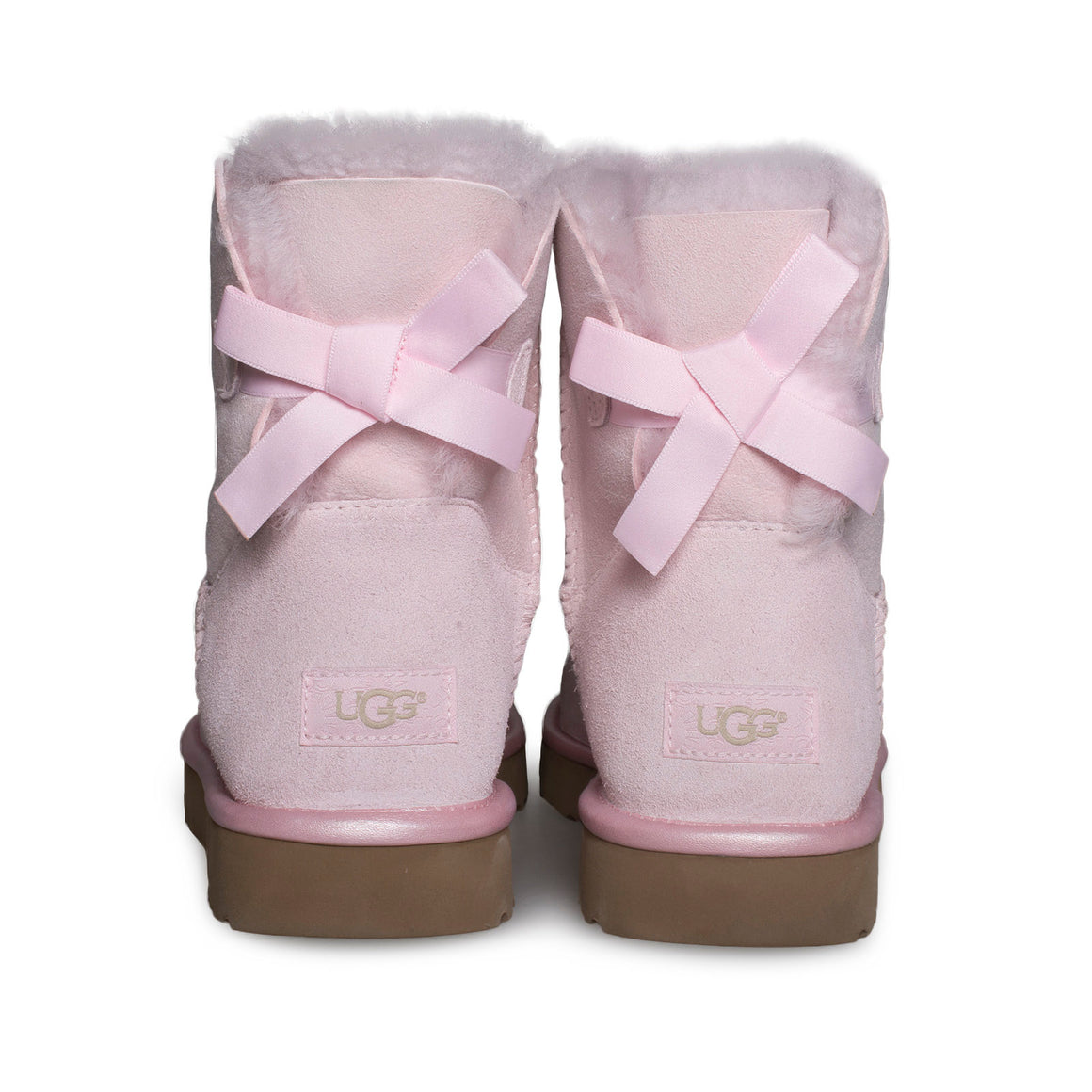 UGG Mini Bailey Bow II Metallic Seashell Pink Boots - Women's
