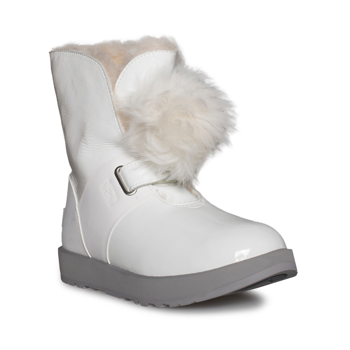 UGG Isley Patent Waterproof White Boots - Women's