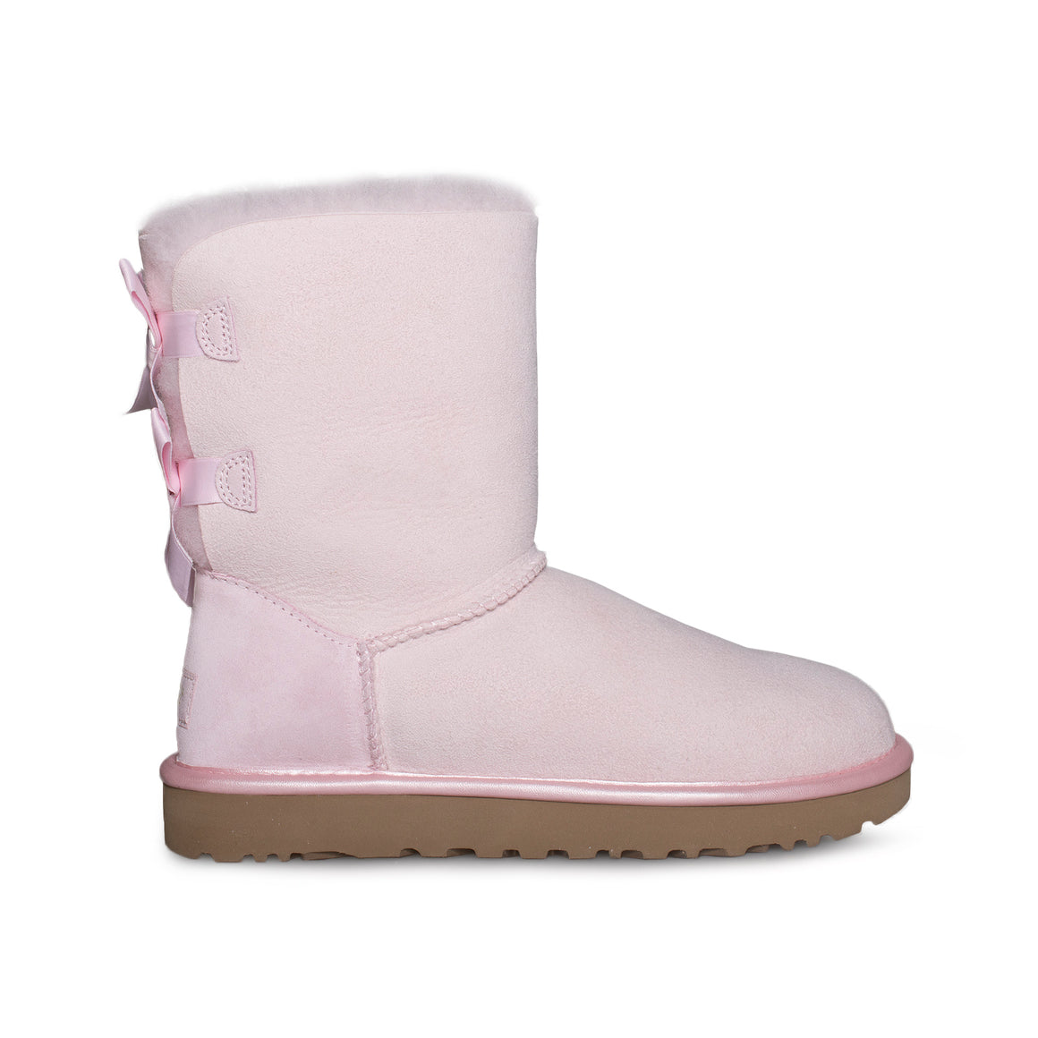 UGG Bailey Bow II Metallic Seashell Pink Boots - Youth