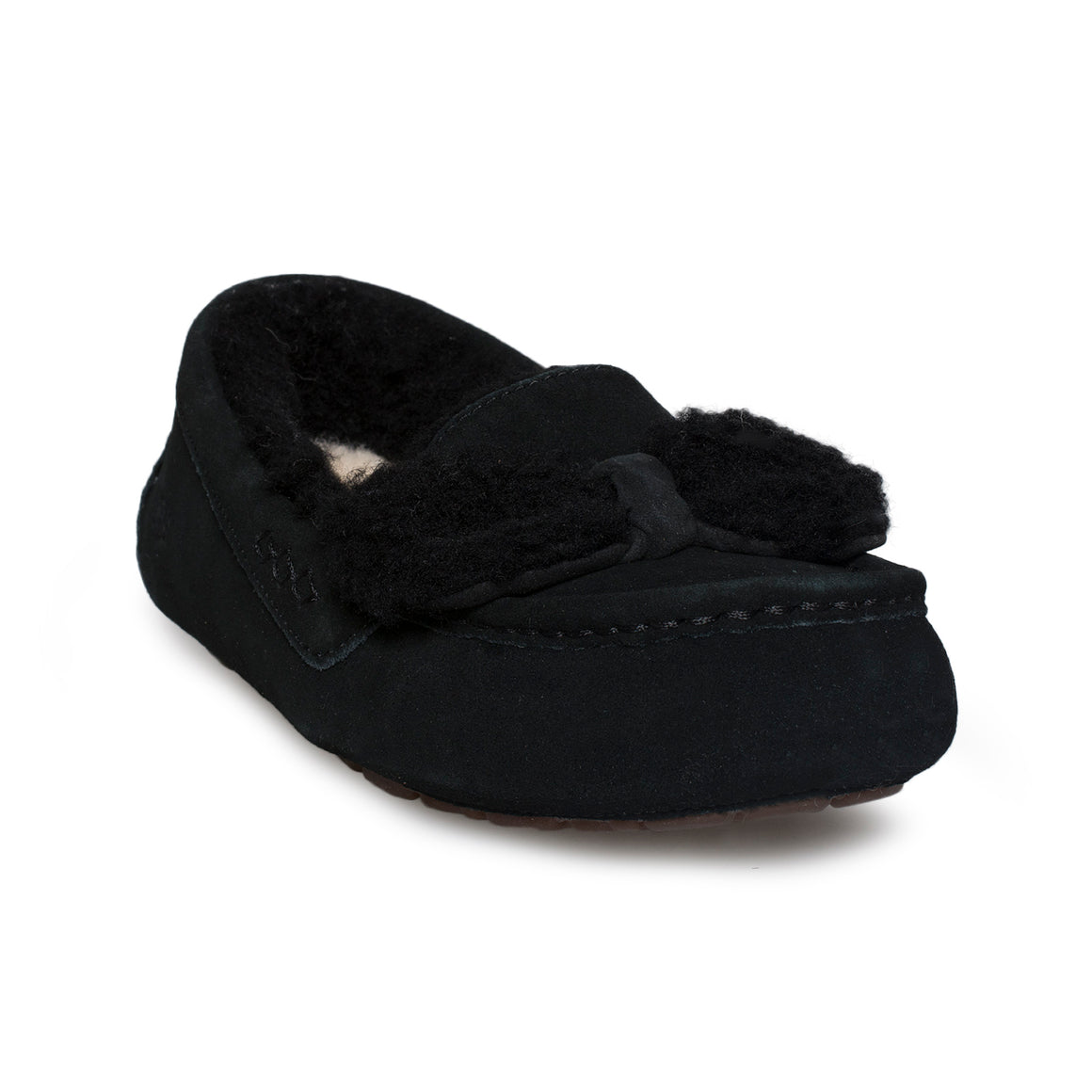 UGG Ansley Fur Bow Black Slippers