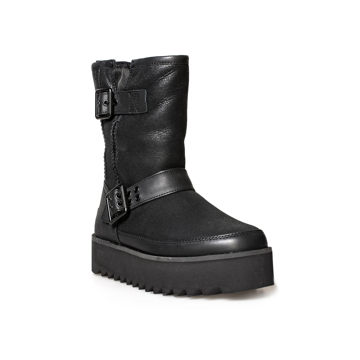 UGG Classic Rebel Biker Short Black Boots - Women's