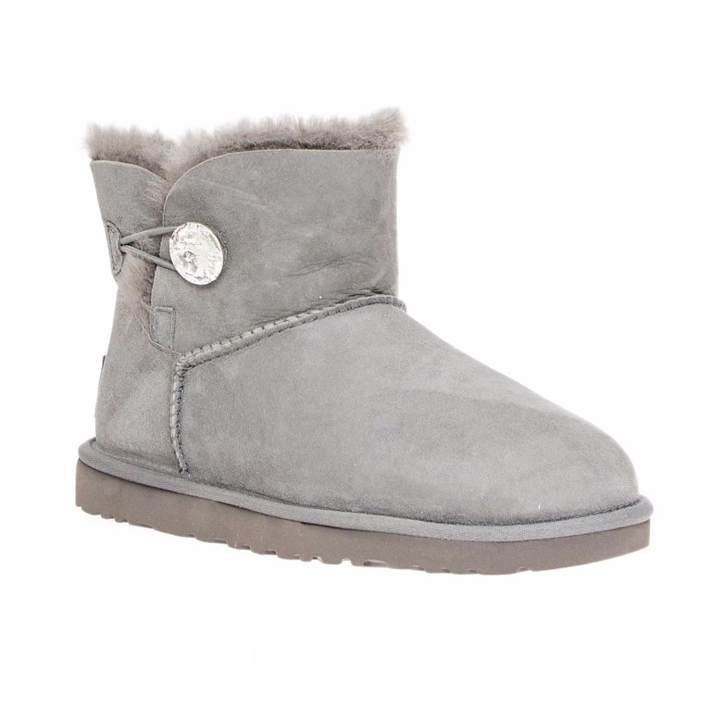 7979c8ddbe2 UGG Mini Bailey Button Bling Grey Boots