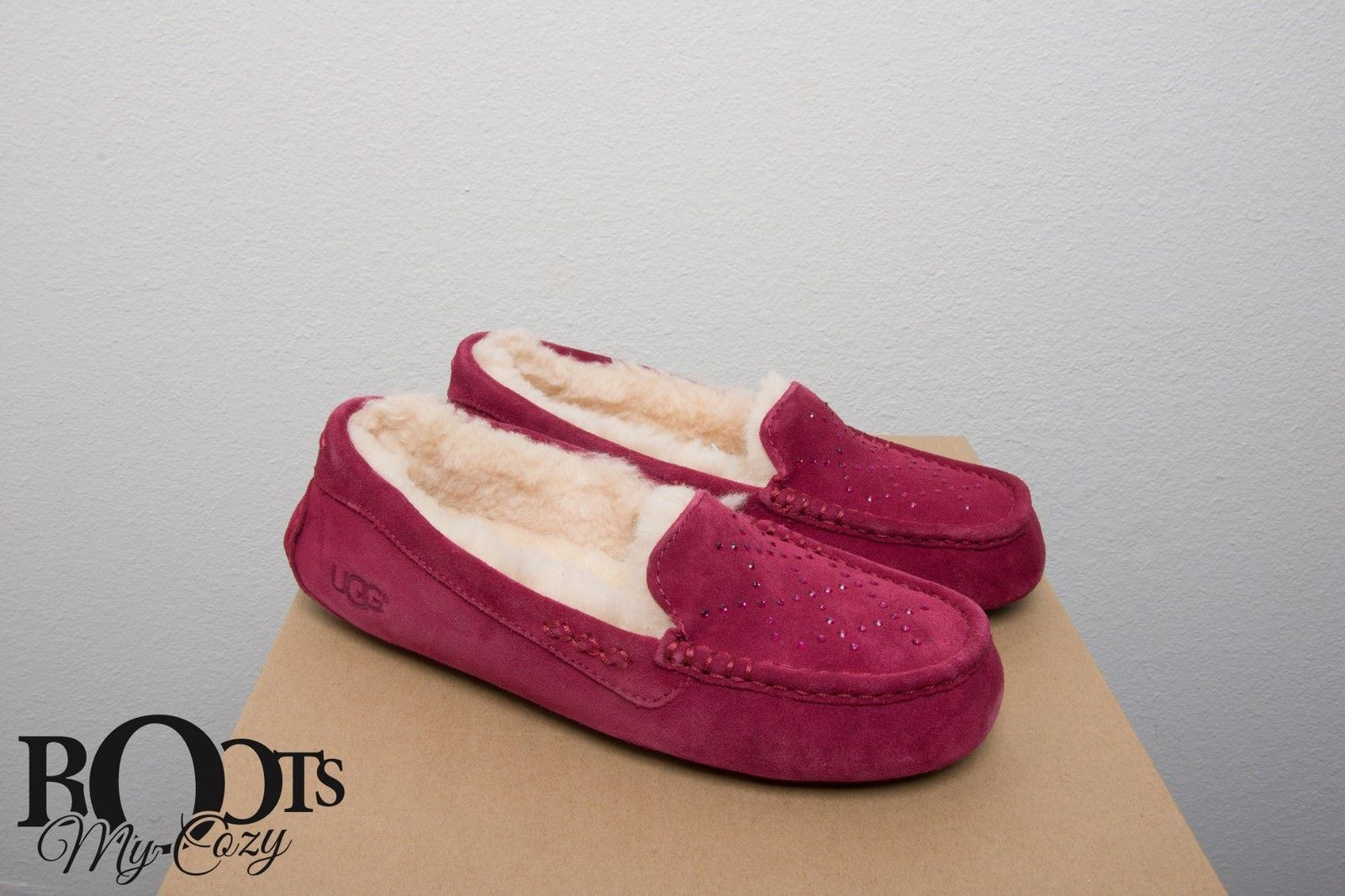 cf6ac7f4e66 UGG Ansley Crystal Diamond Oxblood Red Slippers