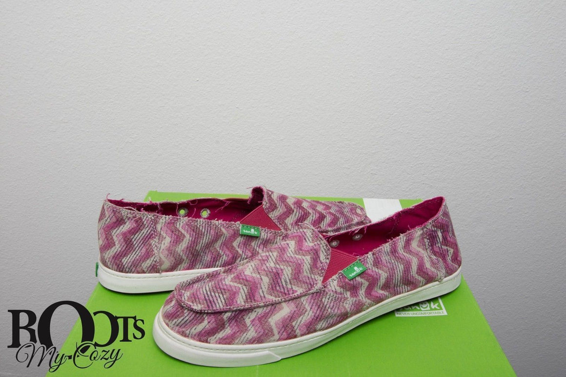 Sanuk Fiona Burgundy Chevron Shoes